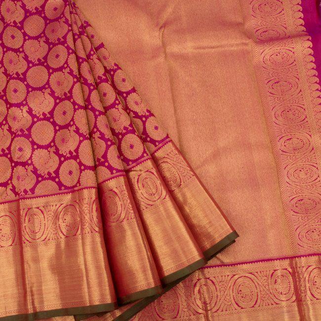 Handloom Pure Zari Jacquard Bridal Kanjivaram Silk Saree With Mayil Chakram Motifs 10023242 - AVISHYA.COM