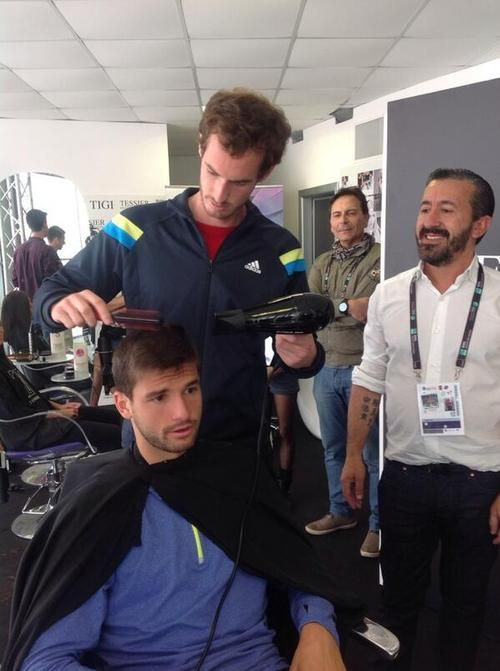 I guess tennis phenom Andy Murray is multi-talented. Here, he takes over as hairdresser for Grigor Dimitrov in Rome!!