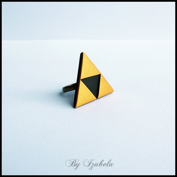 Triforce ring / The legend of Zelda ring / Handmade Polymer clay ring / Amulet ring / Princess Zelda ring / Geometric ring / Fimo ring