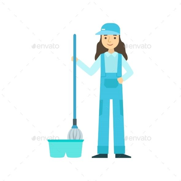Girl With Mop Washing The Floor, Cleaning Service