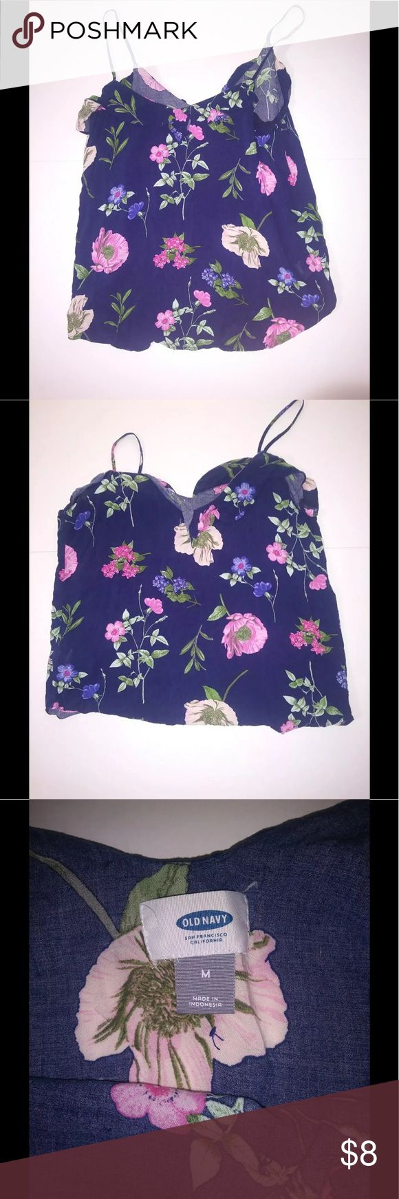 Old Navy Cami tank size M Old Navy Womens Size M Floral Cami Tank Top Shirt. Tropical flowers on Blue Old Navy Tops Camisoles