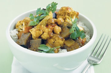 Chickpea and eggplant curry main image