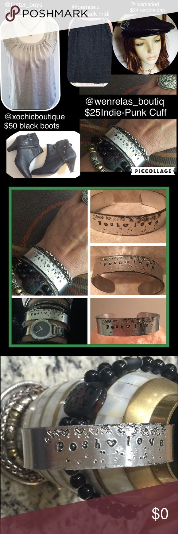 """Indie-Punk Vintaged Cuff/Custom Handstamp Cuff This Exclusive design by @wenrella  All my creations are 100% designed and handmade with POSH❤LOVE and care by Wenrella  When I get stopped by women that want to touch this beautiful & elegant bracelet always ask """"What does POSH❤️LOVE mean?"""" It's a perfect way to share your closet name & $5 code. Vintage Jewelry Bracelets"""
