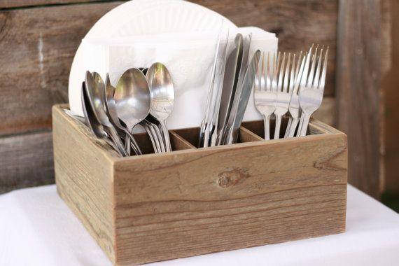Napkin Silverware Utensil Paper Plate Holder Handmade Rustic Wood Box Shabby Chic Upcycled.