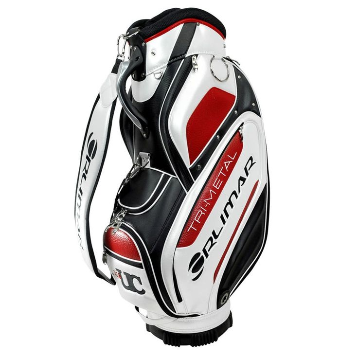 With an eleven inch five compartment graphite safe top these mens tri-metal tour golf staff bags also include a rain hood and lined valuables pocket