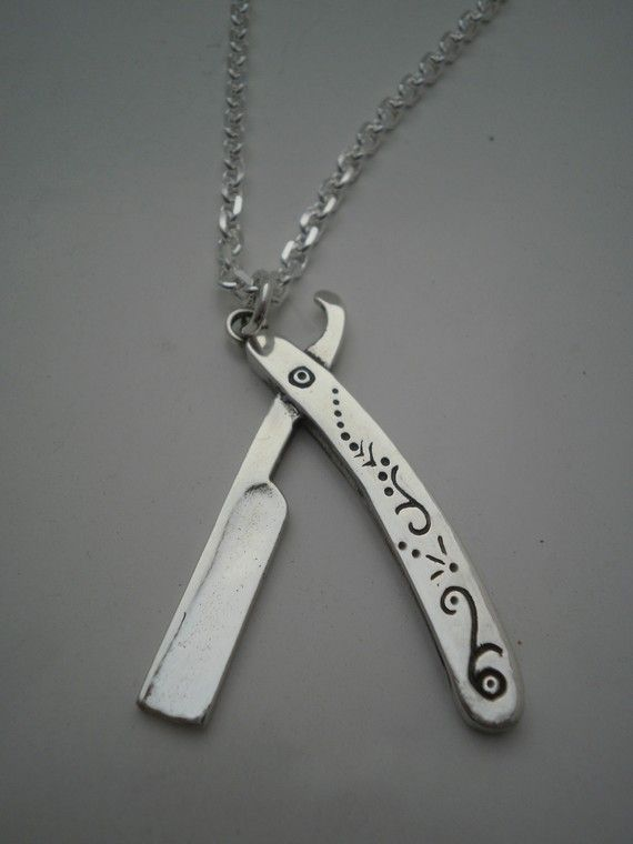 Sexy pendant for a bearded guy...Silver Pendant Vintage Style Barber's Razor by luladark on Etsy, $80.00