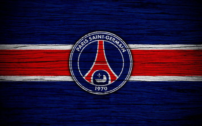 Download wallpapers PSG, 4k, France, Liga 1, Paris Saint-Germain, wooden texture, PSG FC, Ligue 1, soccer, football club, FC PSG, Paris Saint-Germain FC