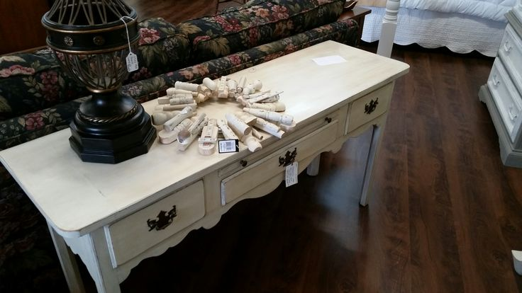 Thomasville sofa table -  old white with clear and dark wax