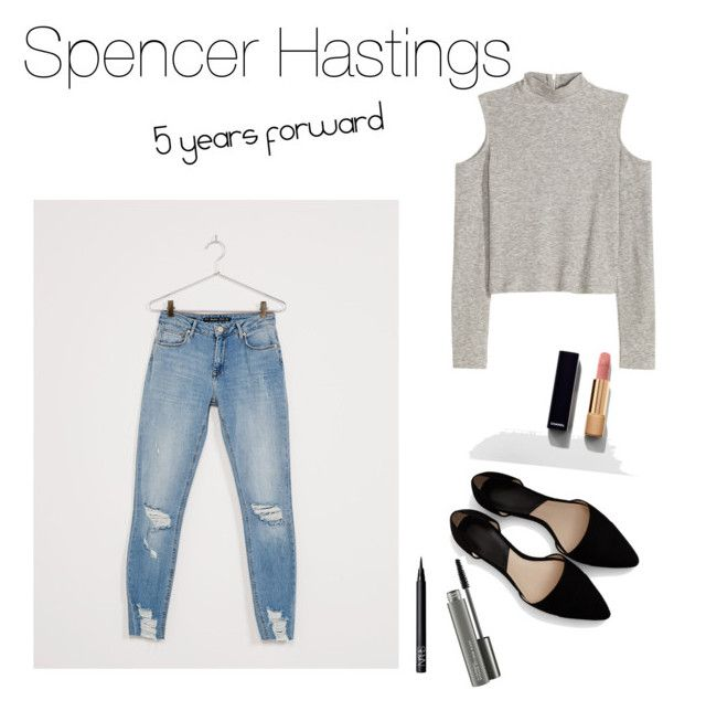 """""""Spencer Hastings"""" by saragrodrigues on Polyvore featuring H&M, Bershka, MANGO, NARS Cosmetics, MAC Cosmetics and Chanel"""