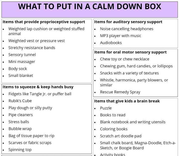 Having a calm box in your house or classroom can alleviate some very stressful moments when a child may be experiencing an anxious event or leading up to an an anxious event. Here are some ideas for what you can put in that box again depending on the needs of your child.