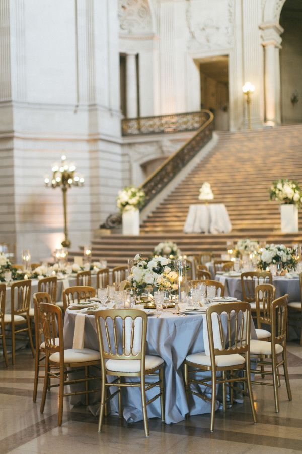 Dusty blue, grey and gold City Hall tablescape: http://www.stylemepretty.com/2016/09/15/elegant-san-francisco-city-hall-wedding/ Photography: Caroline Tran - http://carolinetran.net/