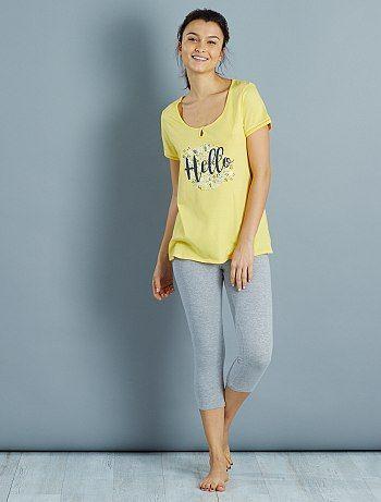 Pyjama imprimé                             jaune Lingerie du s au xxl  - Kiabi