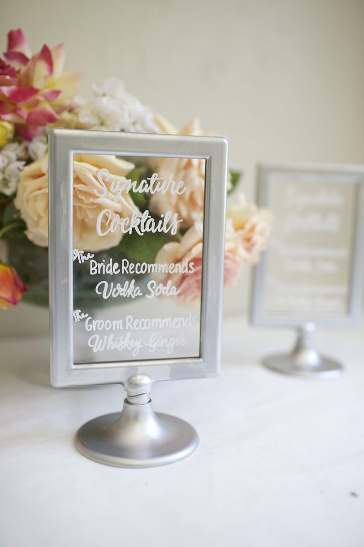 Signature cocktail hand painted sign on IKEA frames. Bride and groom drink signs for wedding.