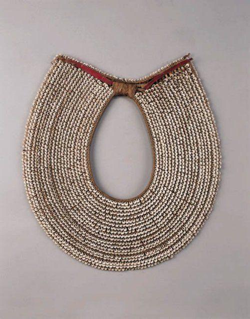 New Britain (Melanesia, South Pacific), Man's Collar Necklace, shells/plant fibers, c. 1900.