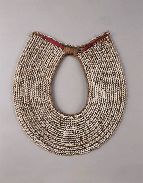 New Britain (Melanesia, South Pacific), Man's Collar Necklace, shells/plant fibers, c. 1900.