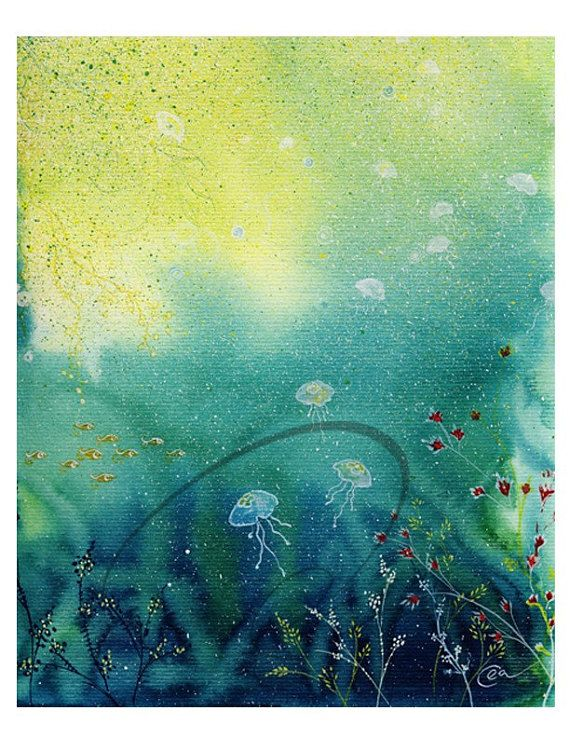 Through Light Watercolor Art Print Ocean Jellyfish Deep Sunlight