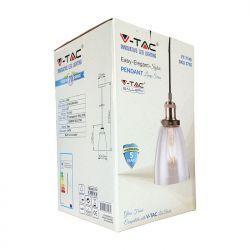 Φωτιστικό Οροφής Κρεμαστό γυαλί E27 Διάφανο VT-7140 V-TAC3800157611084