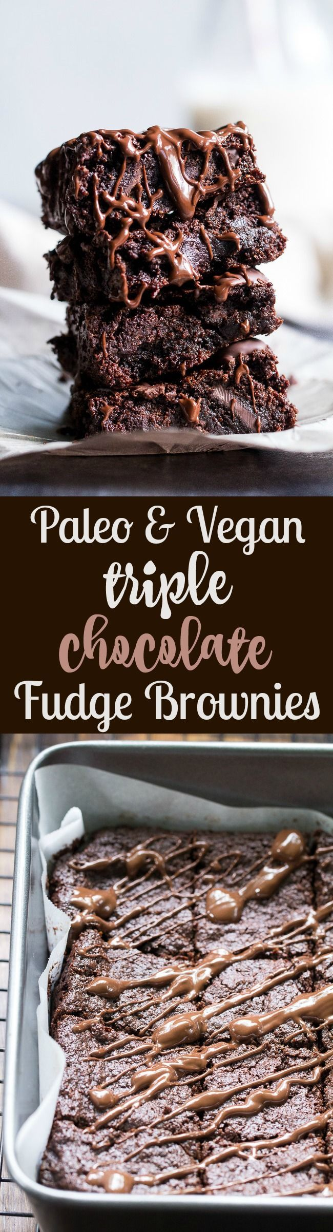 These are the most delicious fudgy paleo and vegan brownies that you'll ever make! Raw cacao, unsweetened chocolate and chocolate chunks make them extra chocolatey with rich flavor and chewy fudge-like texture. Kid approved, gluten-free, dairy-free and great when you need a healthy chocolate indulgence!Fudgy Triple Chocolate Paleo & Vegan Brownies  #justeatrealfood #paleorunningmomma