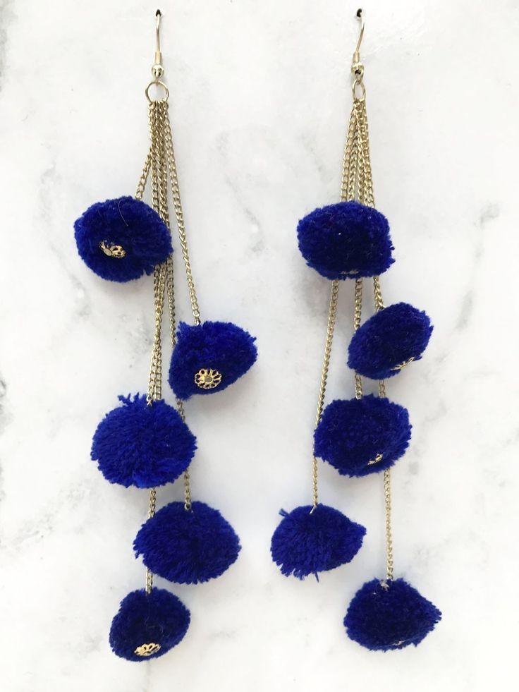 Navy Blue Pompom Chain Earring
