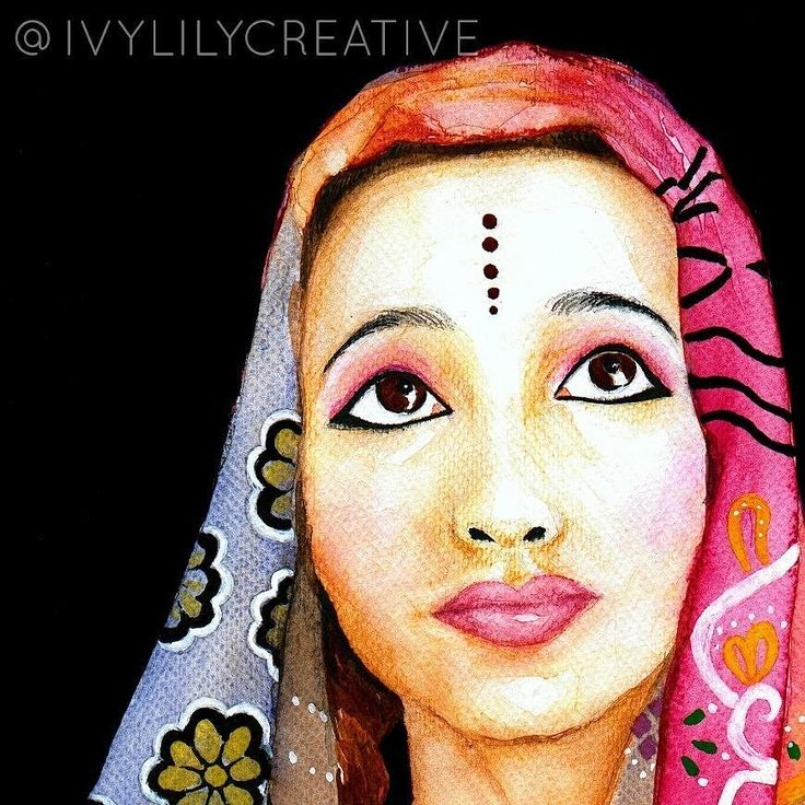 Indian girl in watercolor and acrylics. Coloring page of her available in my Etsy shop Ivy Lily Art. It's an instant download printable coloring page. Also part of a printable coloring book with more ethnic girl coloring pages. Link in bio!  #coloring #colouring #coloringpage #arttherapy #lovecoloring #väritys #värityskuva #lowbrowart #coloringforadults #coloringpage #colortherapy #värityskirja #värityskuva #portrait #watercolor #painting #indiangirl #indianbride