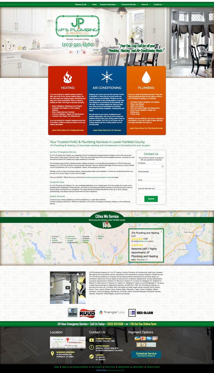 J.P's Plumbing & Heating - Norwalk, CT heating and air conditioning HVAC and plumbing website custom design and marketing through Online-Access, Inc.  Company website: http://www.jpplumbingandheating.com/