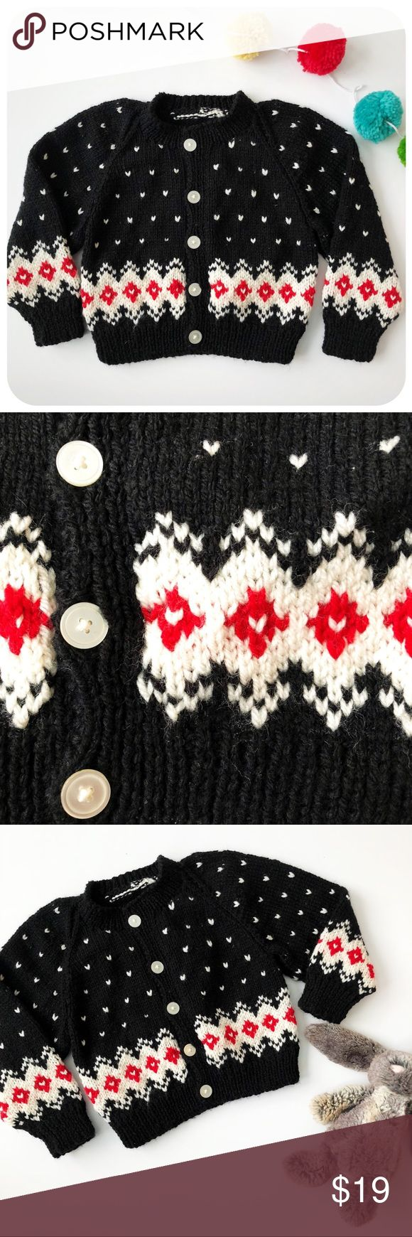 {{ Vintage }} Handmade Valentine's Day Cardigan Handmade Vintage Valentine's Day Knit Cardigan  Black chevron knit with white mini 'hearts'. Bottom white band with red hearts. Button front.   No size. Estimated to fit 18-24 months. Vintage Shirts & Tops Sweaters