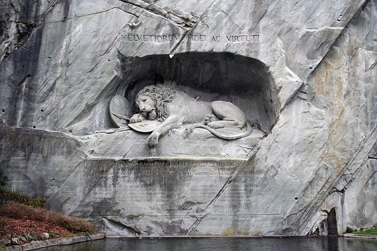 """Löwendenkmal, Luzern, Switzerland. """"The most mournful and moving piece of stone in the world."""" (Mark Twain)"""