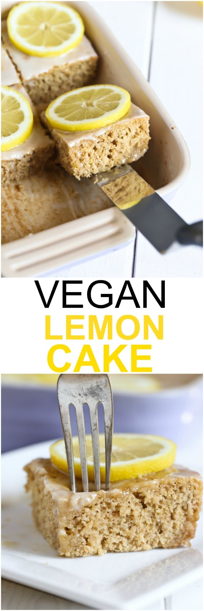 Vegan Lemon Cake made with healthy wholesome ingredients. This cake is so fresh and lemony and the perfect sponge texture. It is light, low-fat and made with only 8 ingredients! via @thevegan8