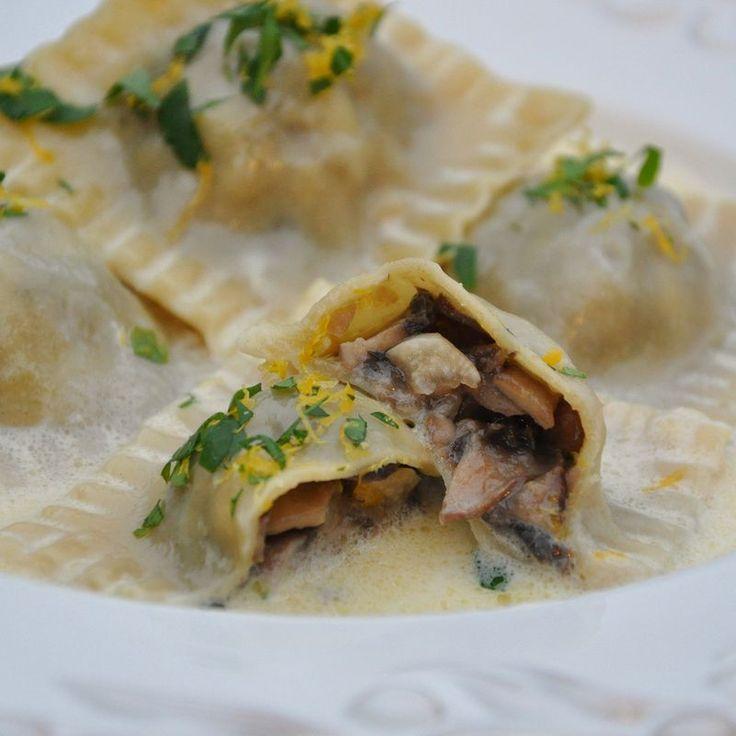 Crimini Mushroom Ravioli with Lemon Cream Sauce