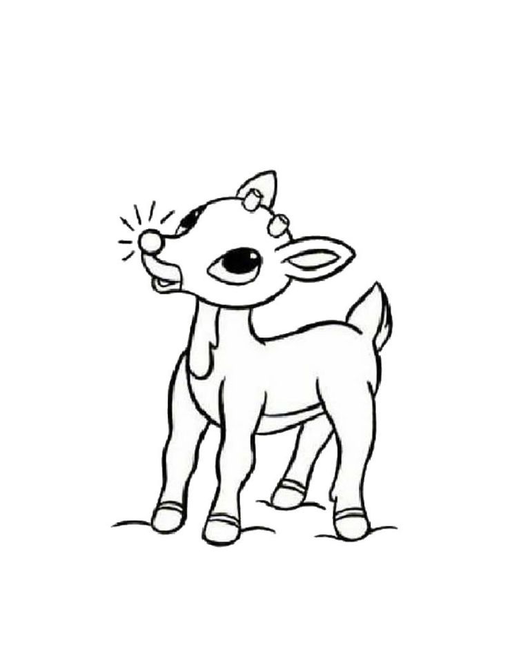Little Rudolph In The Christmas Coloring For Kids