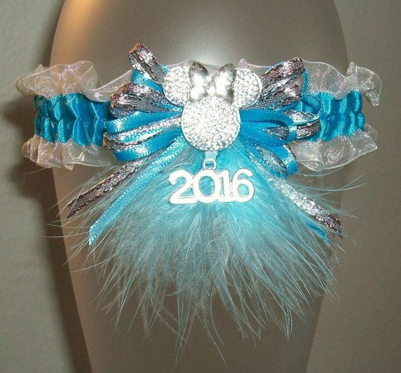 Minnie Mouse Prom 2016 Garter Turquoise Silver White Organza Disney Fur Wedding Garter Why THE FUCK do you need a garter for PROM?!
