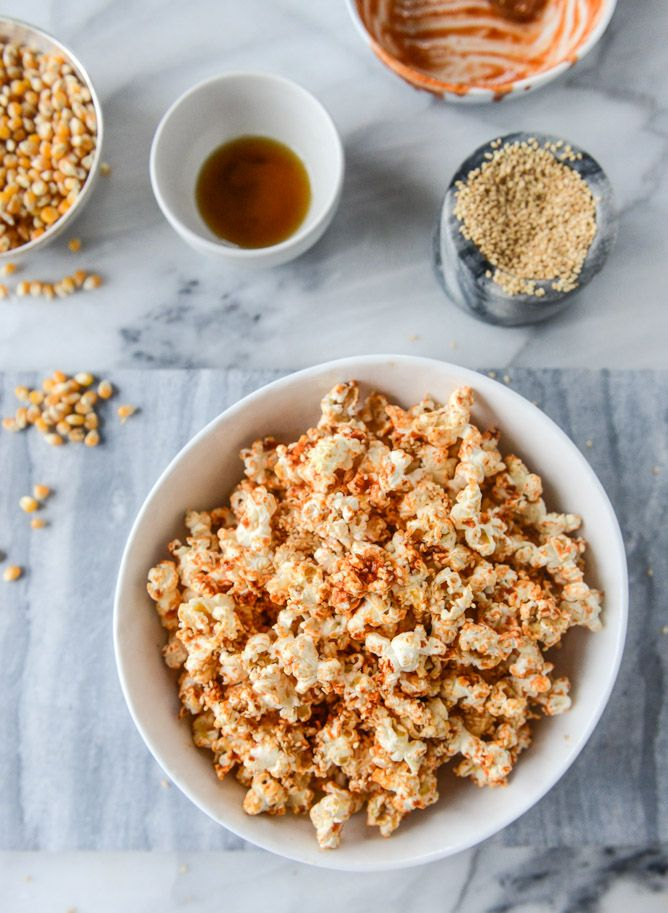15 Healthy Stoner Snacks - Sweet & Spicy  Brown Sugar Sriracha Sesame Popcorn. Get the recipe @stylecaster