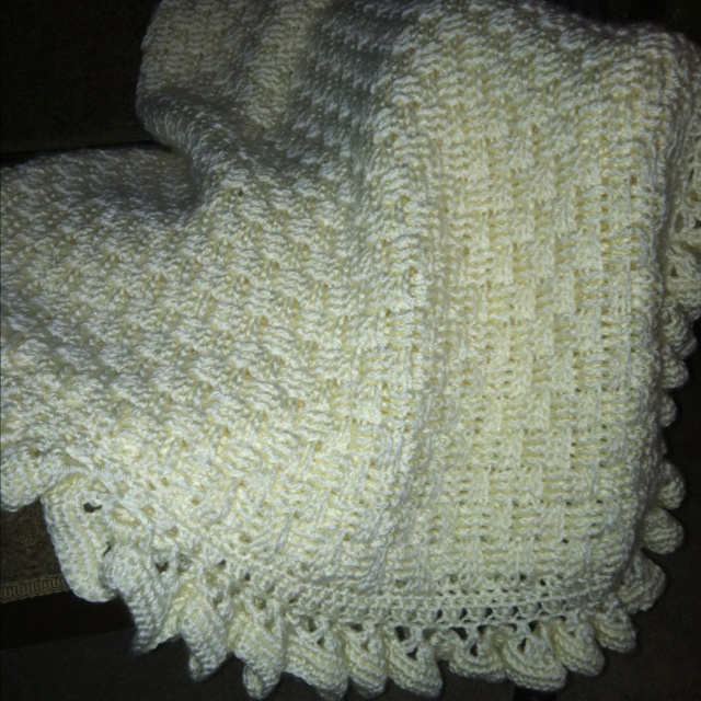 Crocheted afghan basket weave patternwith ruffled edge from the book crocheting on the edge for Crochet ruffle edge