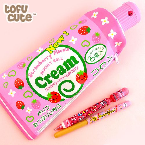 japanese culture and strawberries | Buy Strawberry Cream Collon Pencil Case with Sharpener at Tofu Cute