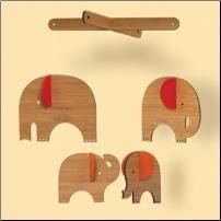 Bamboo and felt elephant mobile from CleverTomoto.com.