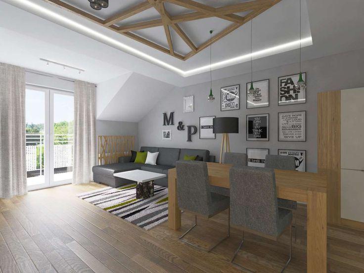Oryginalny salon w odcieniach szarości połączonej z kolorem naturalnego, jasnego drewna. Pomieszczenie pełni również funkcję jadalni.