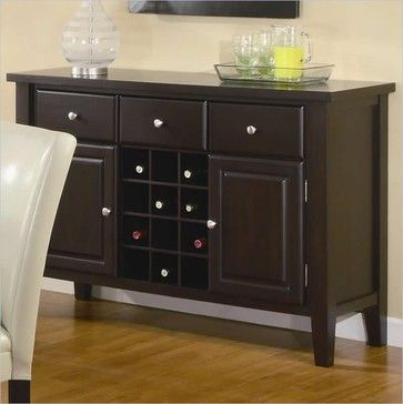 Coaster Carter Buffet Style Server in Dark Brown Wood Finish - transitional - buffets and sideboards - other metro - Cymax
