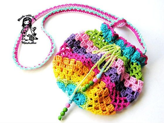 free crochet rainbow colourful purse bag