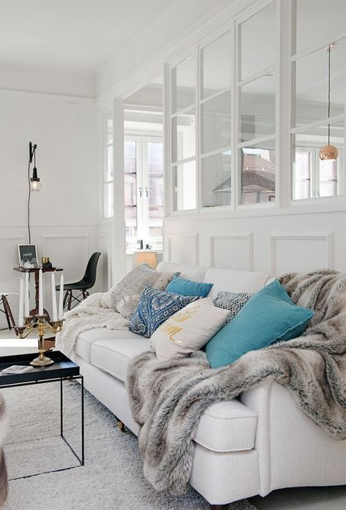 White Walls Couch Turquoise Blue Pillows