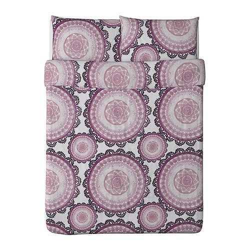 LYCKOAX Duvet cover and pillowcase(s) IKEA Combed cotton; gives the bedlinen a soft feel and an extra smooth and even surface.: Purple Beds, Purple Duvet Covers, Guest Bedrooms, Duvet Sets, Lyckoax Duvet, Beds Spreads, Pillowcase, Ikea Duvet, Guest Rooms