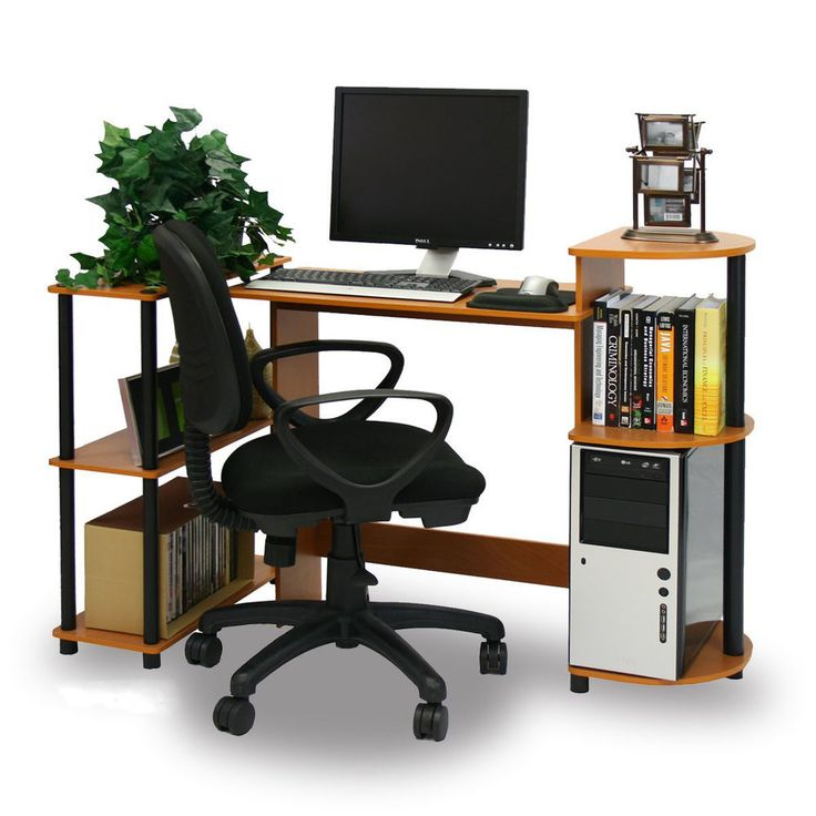 Compact Office Desk Computer Printer Shelves Modern Home Furniture Writing Table #Furinno #Modern