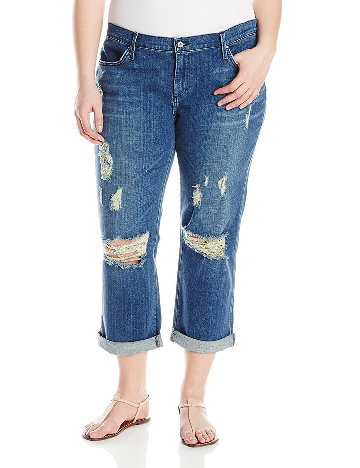 James Jeans Women's Plus-Size Neo Beau Z Classic Boyfriend Jean In Indio ** Don't get left behind, see this great  product : Plus size jeans