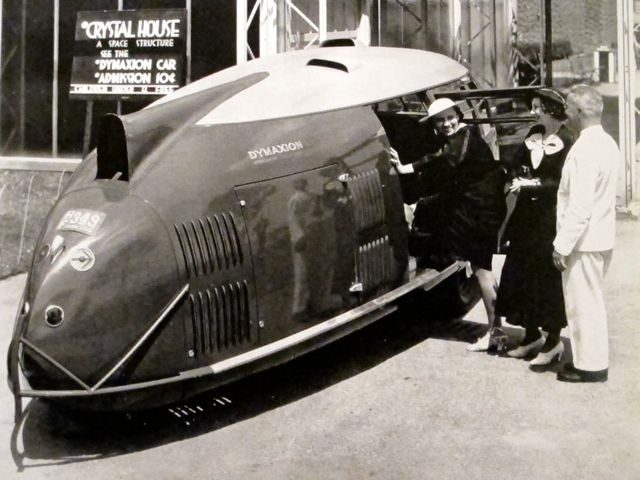 Buckminster Fuller with Dymaxion Car #3, Chicago World's Fair, 1933