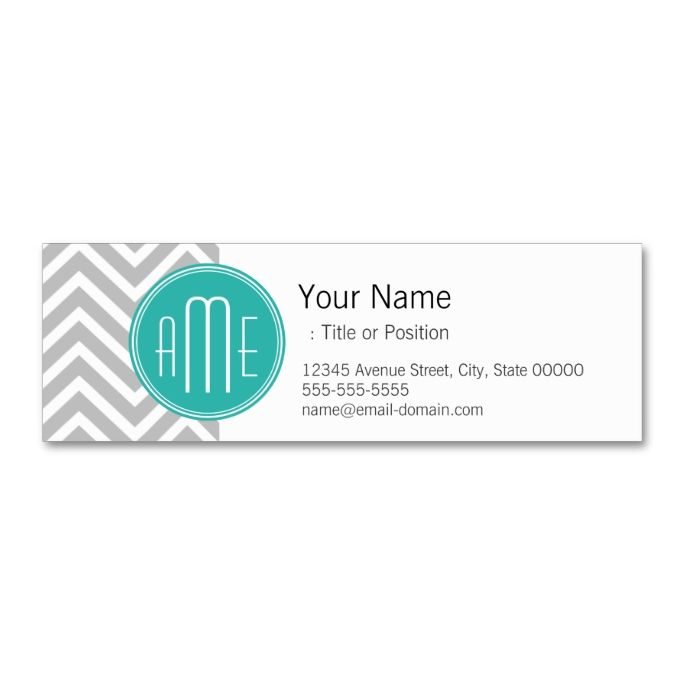 1653 best chevron zigzag business cards images on pinterest elegant modern gray chevron and mint monogram mini business card colourmoves Gallery