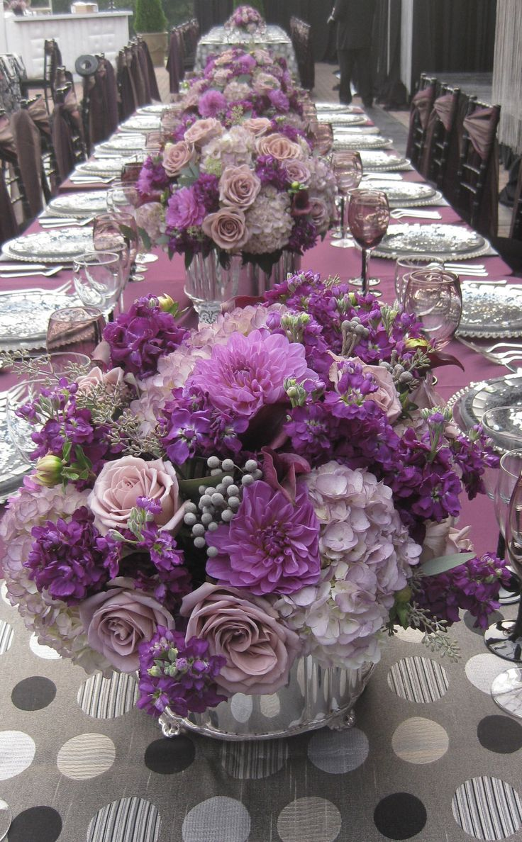 Pretty purple violet lilac and lavender reception table