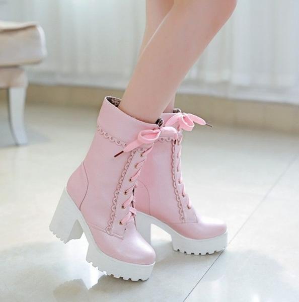 Super Kawaii High Top Pastel Pink Boots. LOVE!