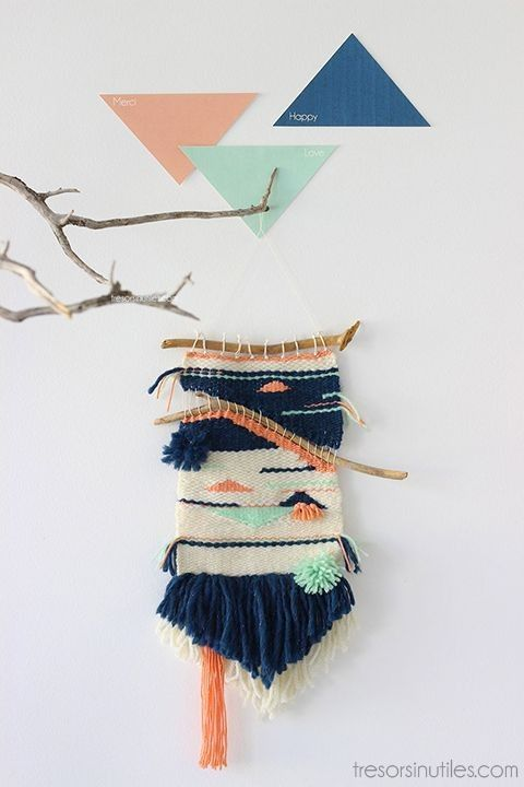Branches triangle wall hanging woven with blue tassel - wall hanging yarn, wall hanging weave