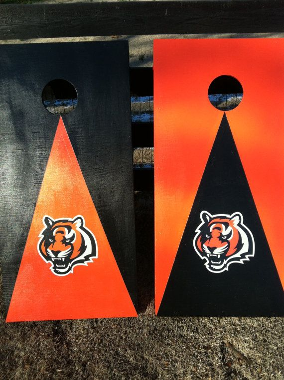 New Cincinnati  Bengals Cornhole Boards , With 8 Bags, Bean Bag Toss Game, ACA Reg. Size 2x4 ft. via Etsy
