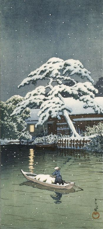 hasuiHasui Beloved, 1800 Art, Beloved Winter, Art Japan, Art Needlepoint, Hasui 1883, Winter Night, Greatest Artists, Ancient Japanese Art