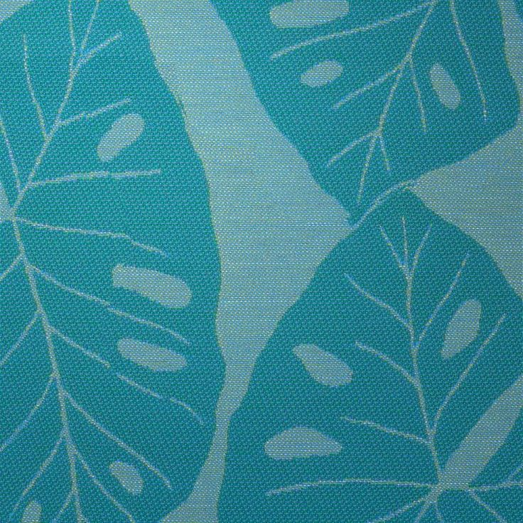 SOURCE ONE UPHOLSTERY - MALIA | Take a trip into the deep heart of the jungle as Malia's palms act like a large scale leafed canopy. This tropical leaf reflects its Hawaiian meaning for calm or gentle waters, from its tonal blues, sea greens, and subtle neutral combinations.